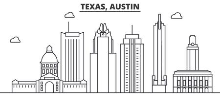 Texas Austin architecture line skyline illustration. Illustration