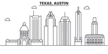 Texas Austin architecture line skyline illustration. Çizim