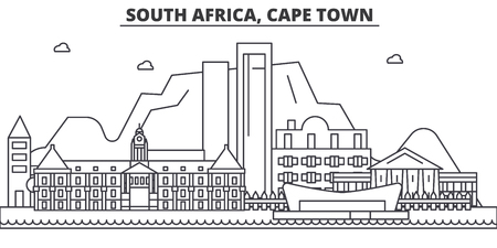 South Africa, Cape Town architecture line skyline illustration. Çizim