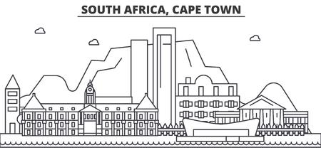 Zuid-Afrika, Cape Town-de horizonillustratie van de architectuurlijn.
