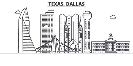 Ilustración de horizonte de línea de arquitectura de Texas Dallas. Foto de archivo - 87753182