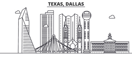 Texas Dallas architecture line skyline illustration. Çizim