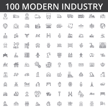 heavy industrial line icons signs Illustration vector concept Editable strokes