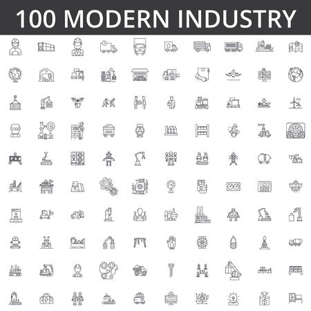 Linea industriale pesante icone di icone illustrazione vettoriale concetto di creatività modificabili
