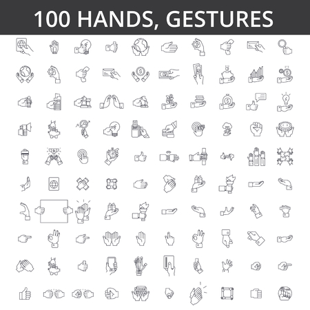 Hand gesture, touch, finger, palm, handshaking, forefinger, okey, body language, take money, pay by card line icons.
