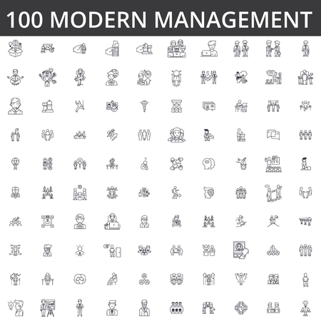 Management, ceo, business team, leader, leadership, manager, motivation, success, executive businessman professional organization line icons signs Illustration vector concept.