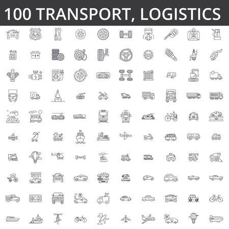 Transportation, car, logistics, vehicle, public transport, bus, tram, ship, shipping auto service truck line icons signs. Illustration