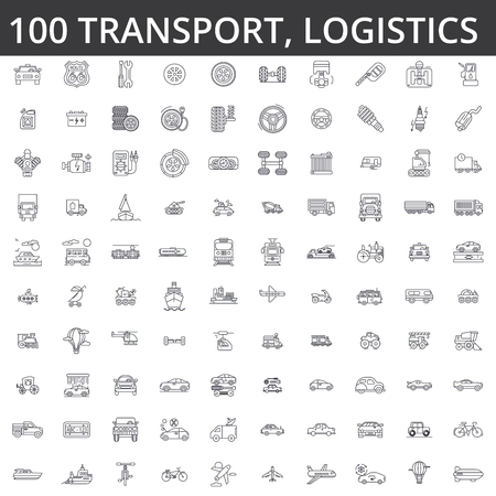 Transportation, car, logistics, vehicle, public transport, bus, tram, ship, shipping auto service truck line icons signs. Stock Illustratie