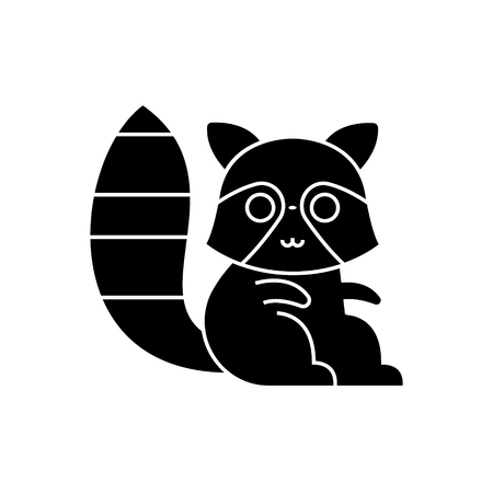 Badger raccoon cute icon, illustration, vector sign on isolated background