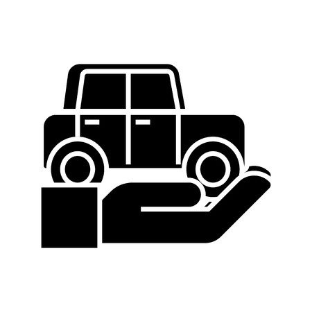Auto insurance - car in hand icon, illustration, vector sign on isolated background