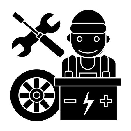 Auto werktuigkundige - batterijwiel - schroevedraaier en moersleutelpictogram, illustratie, vectorteken op geïsoleerde achtergrond