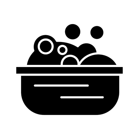 Basin with soap foam icon, illustration, vector sign on isolated background