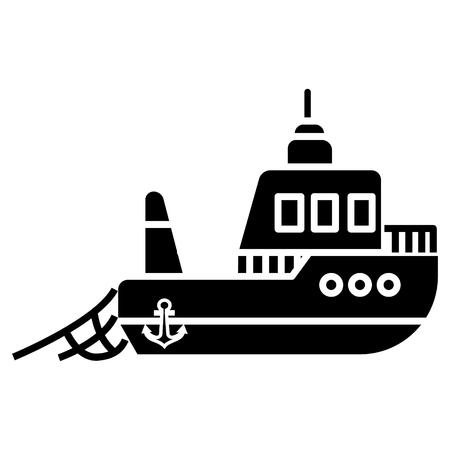 Boot visserijpictogram, illustratie, vectorteken op geïsoleerde achtergrond