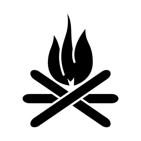 たき火のアイコン、イラスト、ベクトル分離背景に記号  イラスト・ベクター素材
