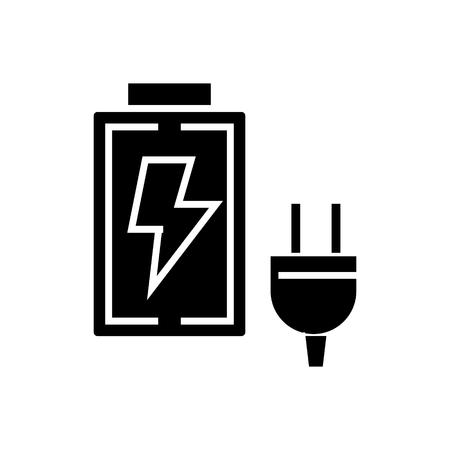 Ladegerätikone, Illustration, Vektorzeichen auf lokalisiertem Hintergrund Standard-Bild - 88096953