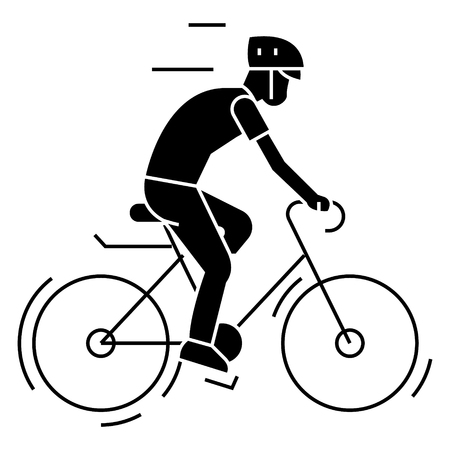 Bicycling - bycicle man icon, illustration, vector sign on isolated background Illustration