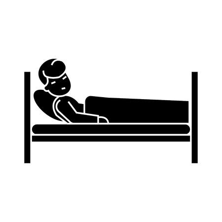 Patiënt in ziekenhuisbed pictogram Stockfoto - 88099400