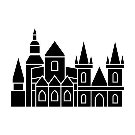Praag pictogram, illustratie, vector teken op geïsoleerde achtergrond