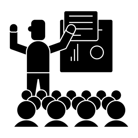 presentation - meeting - lecture icon, illustration, vector sign on isolated background