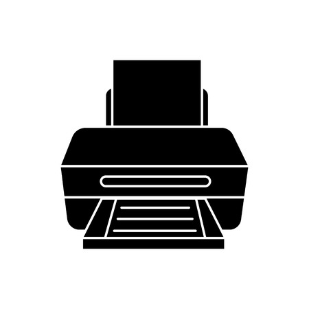printer with paper icon, illustration, vector sign on isolated background