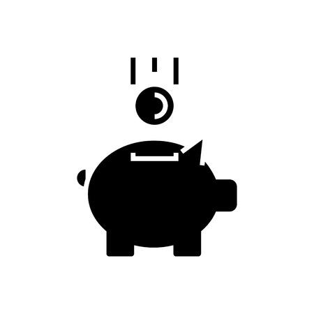Tirelire avec pièce de monnaie icône Banque d'images - 88099408