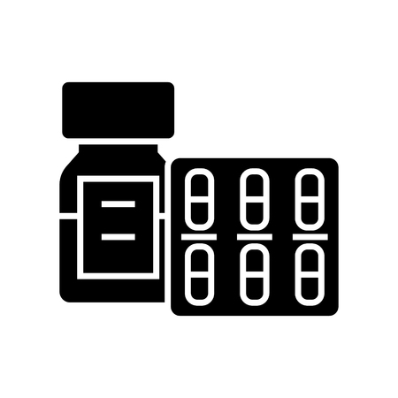 Pills and tablets and bottle icon