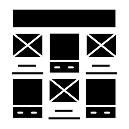 Prototipo de icono de diseño web, ilustración, vector de señal en el fondo aislado Foto de archivo - 88099217