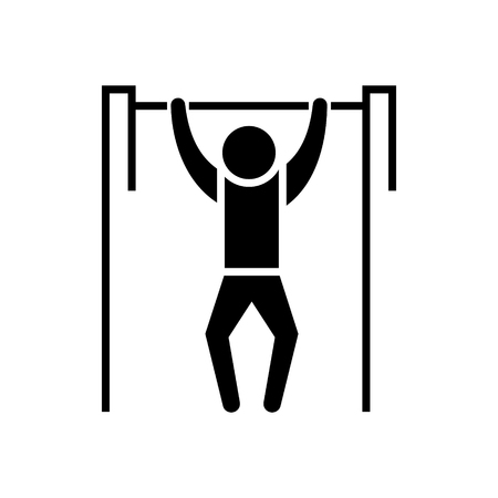 Pull-up - workout - street Exercise icon, illustration, vector sign on isolated background Stock Vector - 88099223