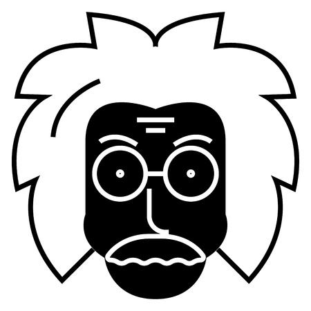 Icône de professeur scientifique, illustration, vecteur signe sur fond isolé Banque d'images - 88099227
