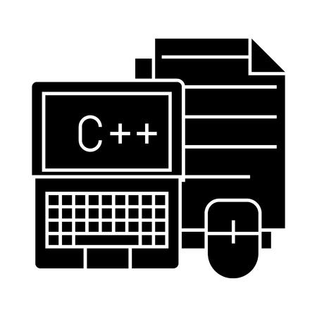 programmeren - coderen - notebook, muis, docs pictogram, illustratie, vector teken op geïsoleerde achtergrond