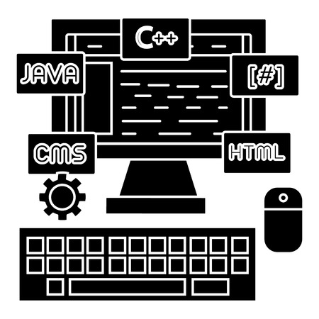 프로그래밍 - 코딩 - wed 개발자 아이콘, 일러스트, 벡터 격리 된 배경에 서명 일러스트