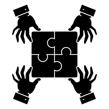 puzzle pieces - strategy icon, illustration, vector sign on isolated background