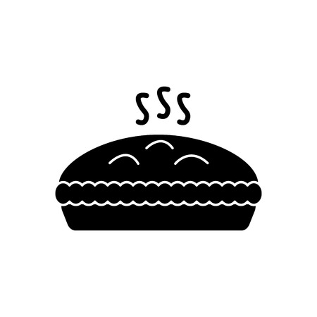 pie with meat icon, illustration, vector sign on isolated background