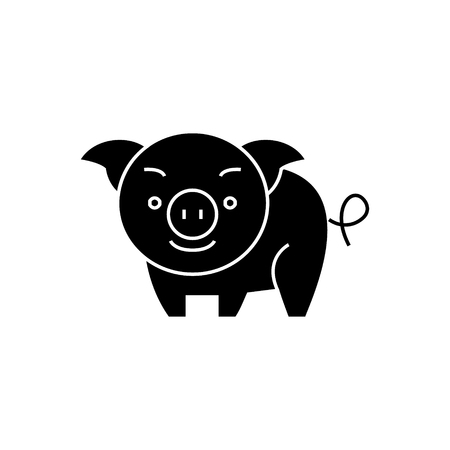 pig cute icon, illustration, vector sign on isolated background