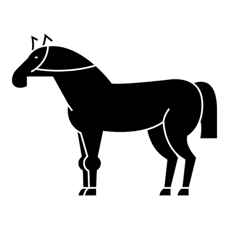 racing horse icon, illustration, vector sign on isolated background Illusztráció