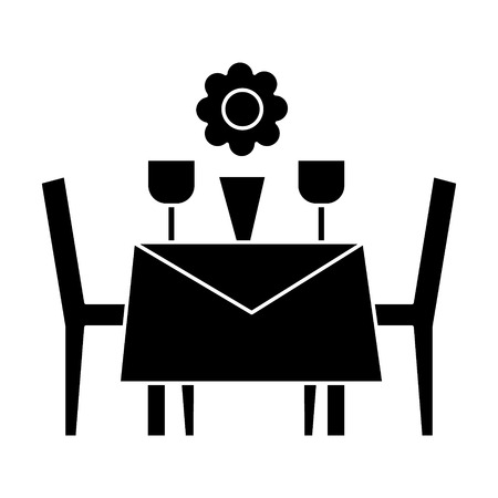 restaurant table with chairs icon, illustration, vector sign on isolated background