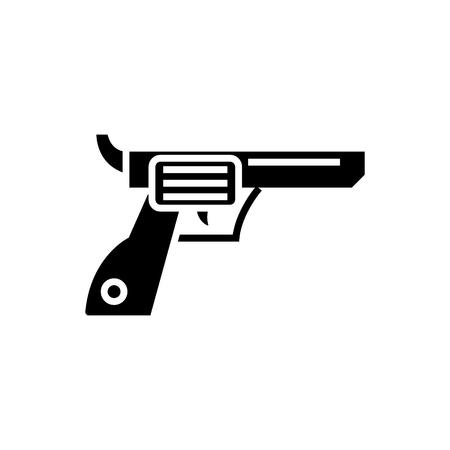 리볼버 총 - 카우보이 아이콘, 그림, 벡터 격리 된 배경에 서명