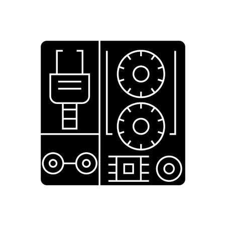 로봇 산업 키트 아이콘, 일러스트 레이 션, 벡터 격리 된 배경에 서명