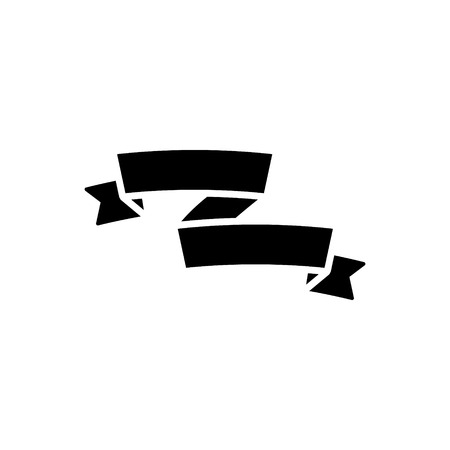 リボン assimetric のアイコン, イラスト, 孤立した背景にベクトル記号