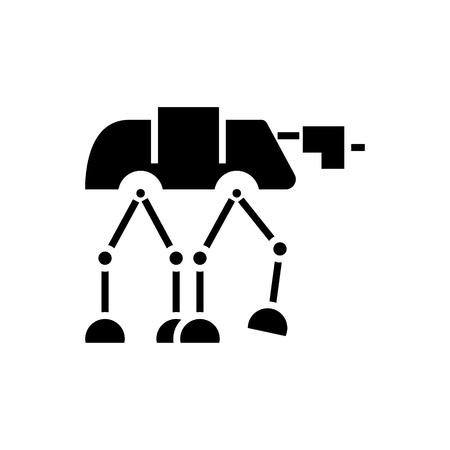 ロボット warior 装甲輸送アイコン、イラスト、ベクトル分離背景に記号