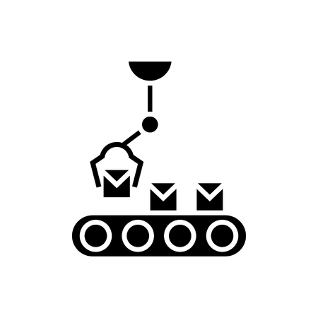 robotic line icon, illustration, vector sign on isolated background