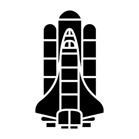rocket launch spaceship space icon, illustration, vector sign on isolated background