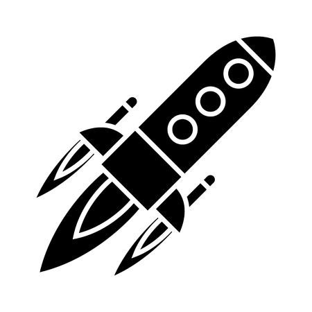 rocket power launch flight icon, illustration, vector sign on isolated background