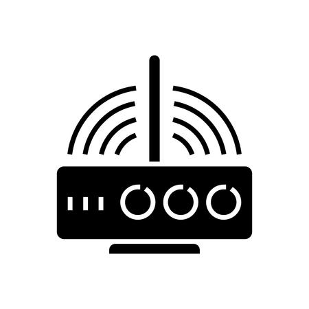 Icône de routeur sans fil, illustration, vecteur signe sur fond isolé Banque d'images - 88100655