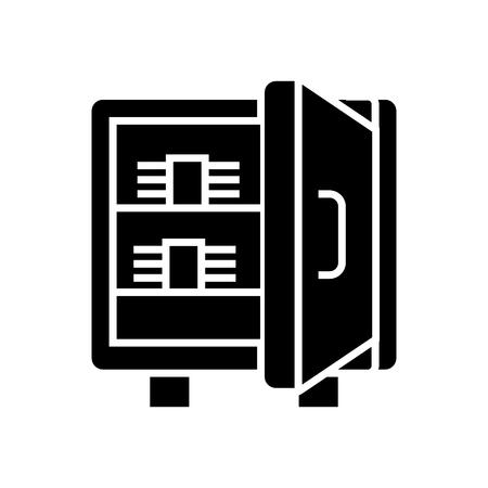 安全な紙幣のアイコン、イラスト、孤立した背景にベクトル記号