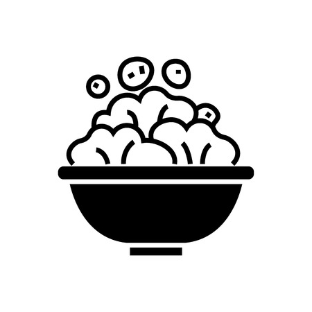 salad bowl icon, illustration, vector sign on isolated background