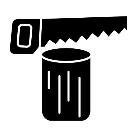 Sierra de registro - icono de la motosierra, ilustración, vector de la muestra en el fondo aislado Foto de archivo - 88100885