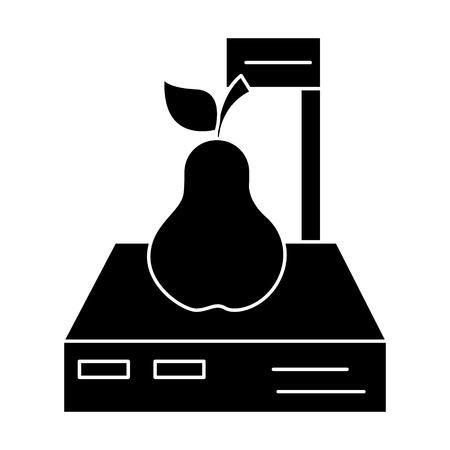 スケール ショップ - 梨のアイコン、イラスト、ベクトルに孤立した背景に署名します。