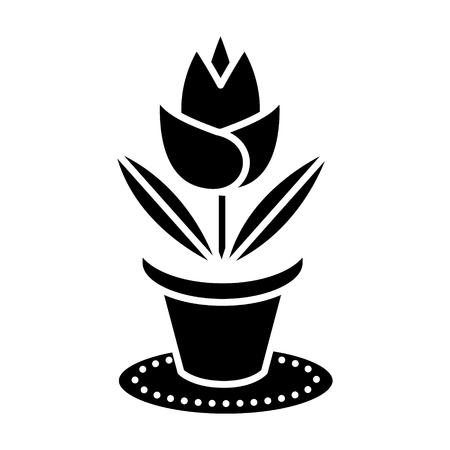 Rose plant pot icon.