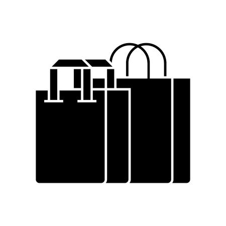 Shopping bags icon. Illustration
